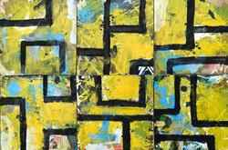 """YELLOW PATCHWORK - 12""""x18"""" Acrylic/W"""