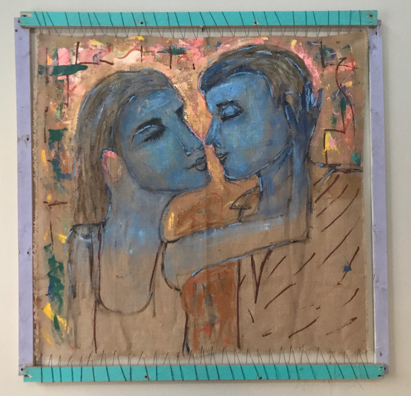 BLUE BLOOD LOVE - Acrylic on Burlap