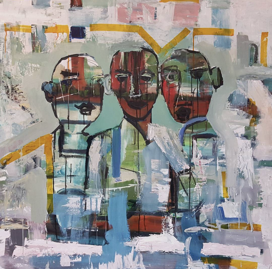 "MONKS - 48""x48"" Mixed Media on Wood"