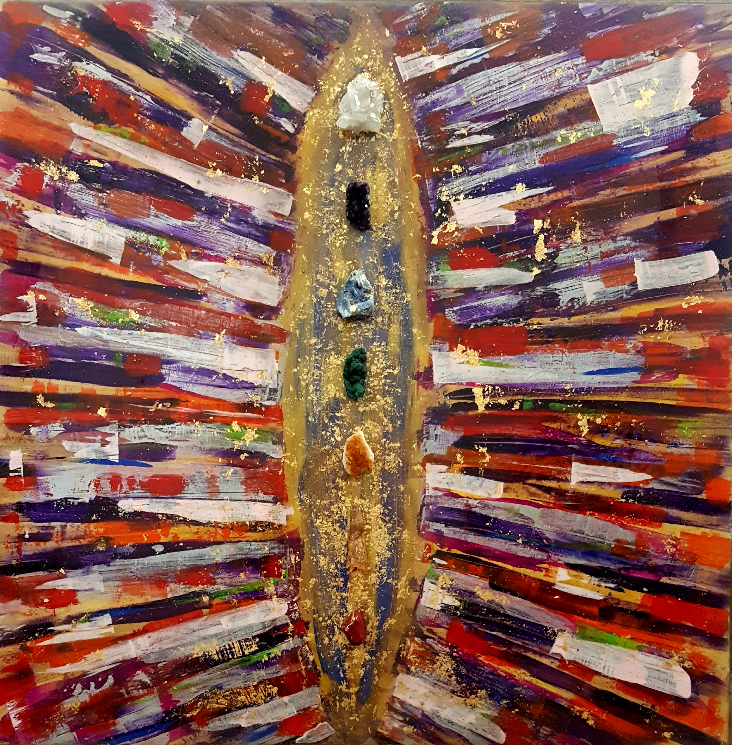 "AURA - 48"" x 48"" Mixed Media/Crystal"