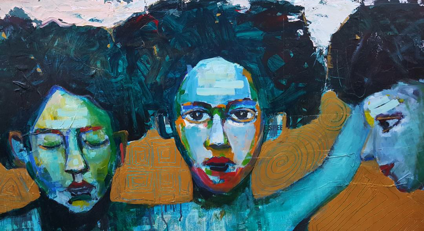 "SISTERS - 24"" x 48"" Acrylic on wood"