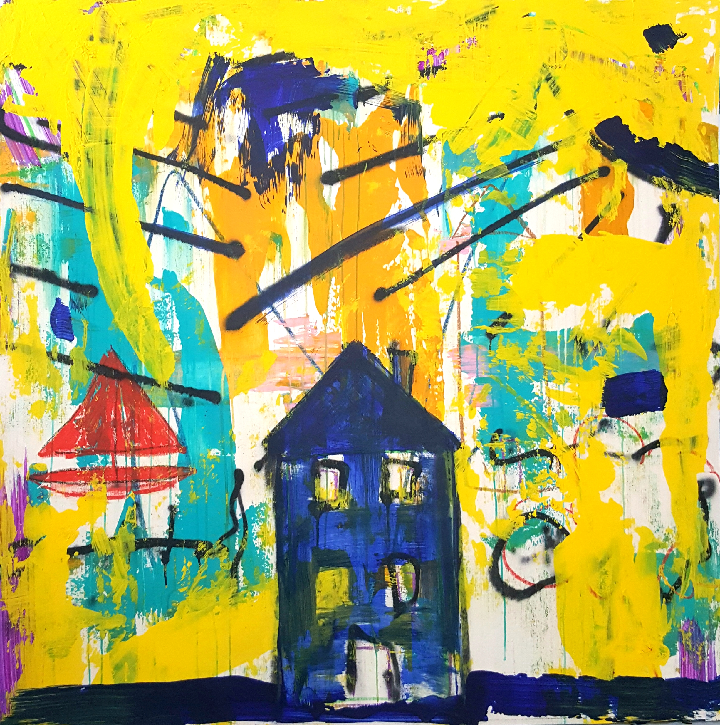 "HOME - 48x28"" Acrylic on wood"