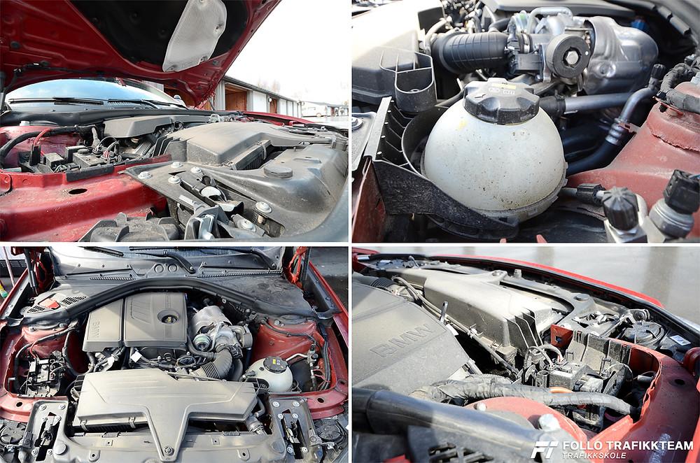 Motorvask. Motoren skal være kald!! Det vil si at bilen bør ha stått stille tre-fire timer.Trafikkskole Follo Trafikkteam