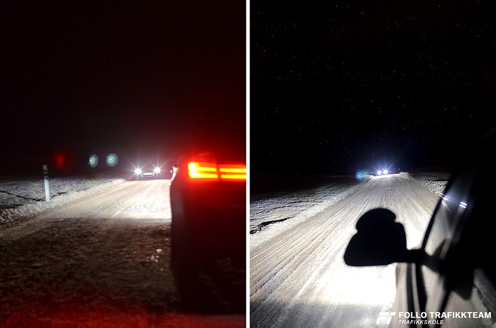 Trafikkskole Follo Trafikkteam mørkekjøringsdemonstrasjon (mørkedemo) med elever fra Ski og Oppegård.
