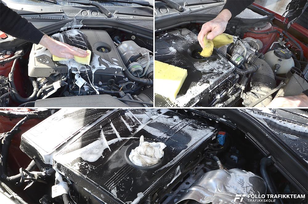 Motorvask. Hvis du er i tvil skal du dekke til dynamo/generator, batteri, sikringsboks og generelt åpne elektriske koblinger. Trafikkskole Follo Trafikkteam