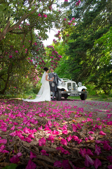 Perthshire Wedding Photograph with Rhododendrons