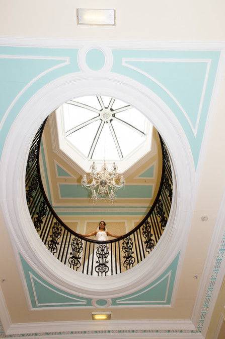 The Oval balcony and ceiling at Dalmahoy Hotel