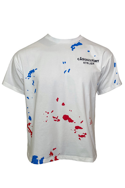 White/Blue/Red Painted T