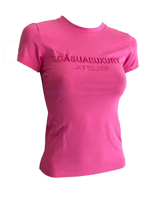 Pink Embroidery T Femme