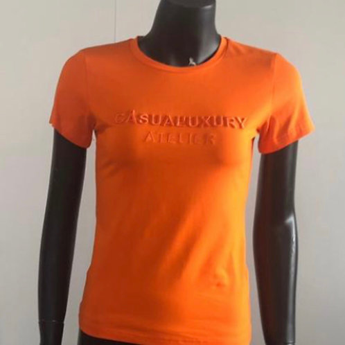 Orange Embroidery T Femme