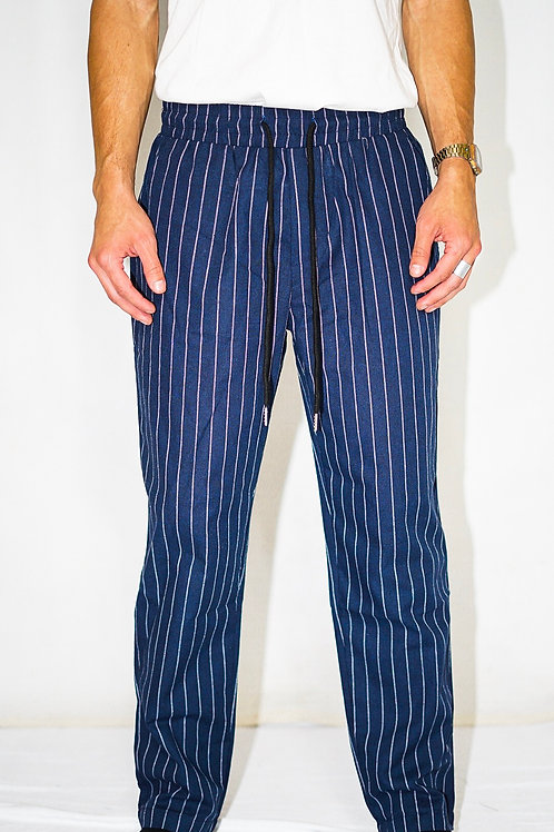 Navy Pin Striped Crop Pants