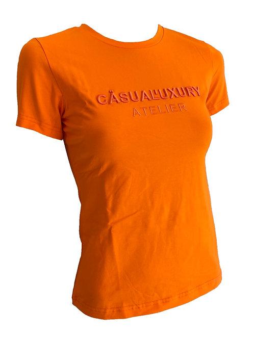 Orange Embroidery T Femme