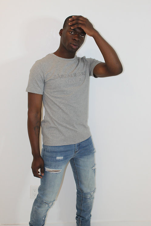 Heather Grey Embroidery T Homme