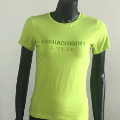 Lime Embroidery T Femme