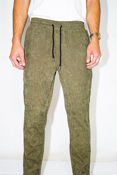 Green Corduroy Crop Pants