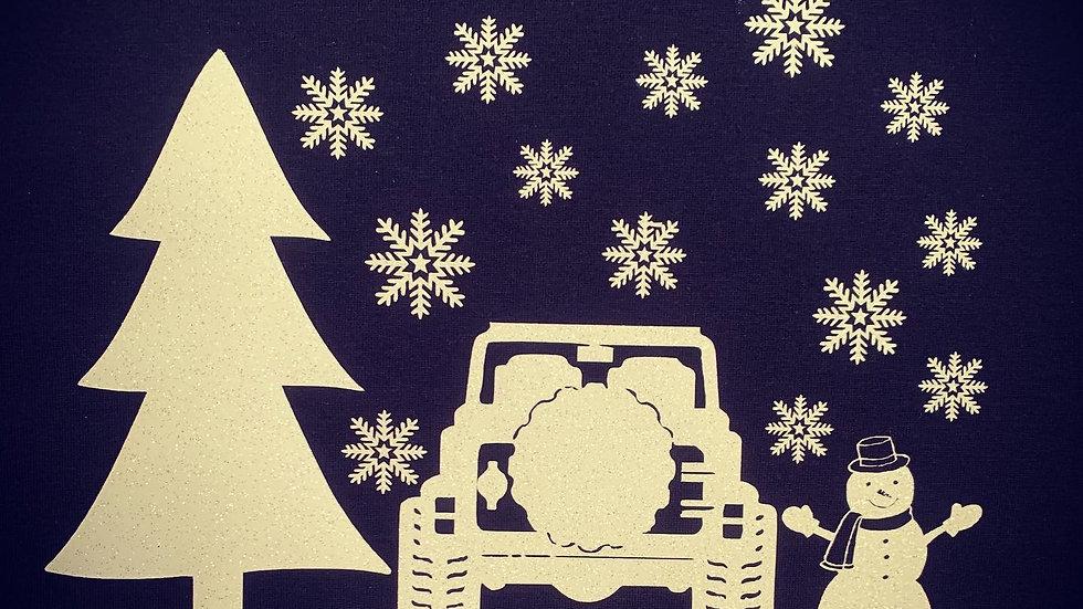 Glittery Jeep Winter Scene