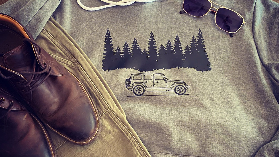 Jeep and Trees Unisex Hoodie