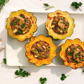 Fauxmage Wild Rice and Mushroom Stuffed Acorn Squash
