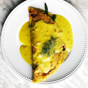 "Plant-based chickpea ""omelette"" with Hollandaise sauce"