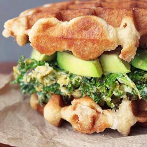 Sandwich vert sur gaufre