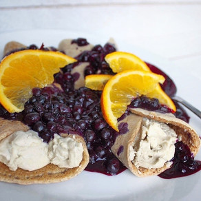 Crepes with Vegan Chèvre and Blueberry Citrus Sauce