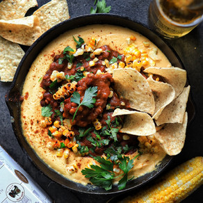 Lentil & Baked Bean Chili With Warm Ale Cheese Dip