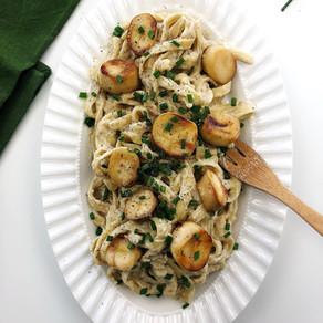 Vegan mushroom 'scallops' with Fettuccine Alfredo