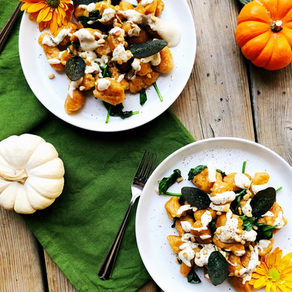 Pumpkin Gnocchi with Creamy Swiss Sauce, Toasted Pine Nuts and Crispy Sage