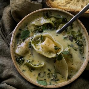Sage Pesto Tortellini Soup