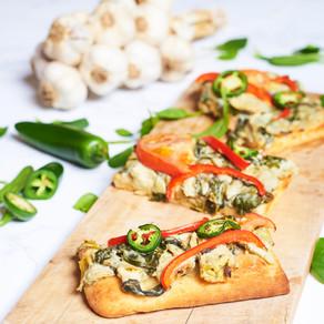 Pizza aux artichauts & épinards