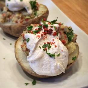 Twice Baked Garlicky Stuffed Potatoes