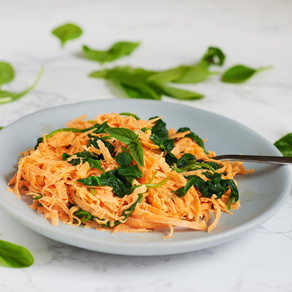 Raw sweet potato noodles with cheesy vegan sauce