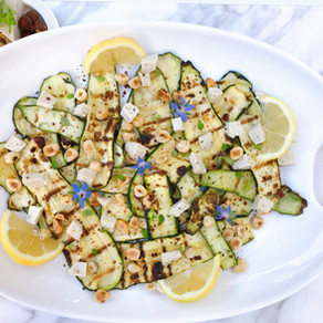 Grilled Zucchini with Double Crème and Hazelnuts