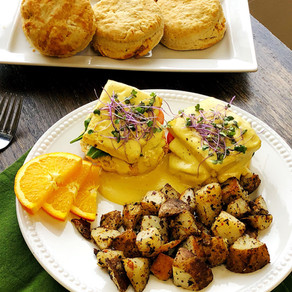 Chef Mel Bouden's Cheesy Biscuits with Vegan Hollandaise Sauce