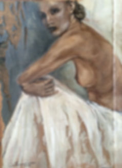 ... despindo-se do Xale Branco, 103 X 77 cm, Técnica mista sobre papelão ondulado
