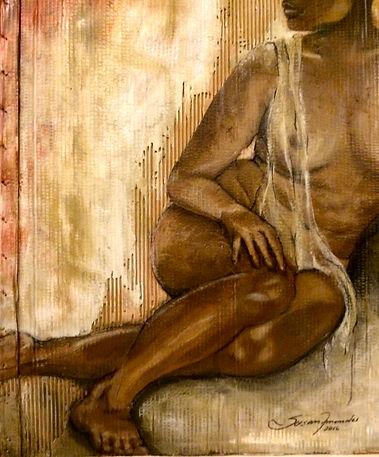 A pele em que habito...98 x 83 cm, Técnica mista sobre papelão ondulado