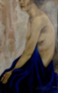 ...despindo-se do Xale Azul,  107 x 65 cm, Técnica Mista sobre papelão