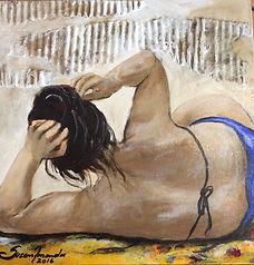 Banhista de costas, 30 x 30cm, Técnica Mista sobre canvas