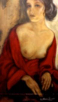 ...de Chale Vermelho II  95 x 65 cm, Técnica Mista sobre papelão - Coleção Particular