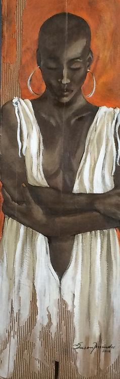 olhando pra mim... - 130 x 44 cm, Técnica mista sobre papelão ondulado - Coleção Particular
