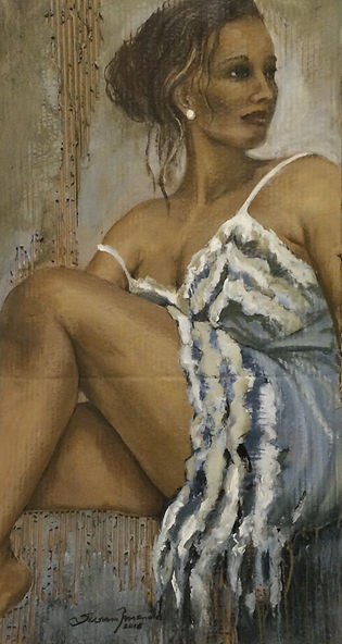 de anágua azul - 88 x 48 cm, Técnica mista sobre papelão ondulado