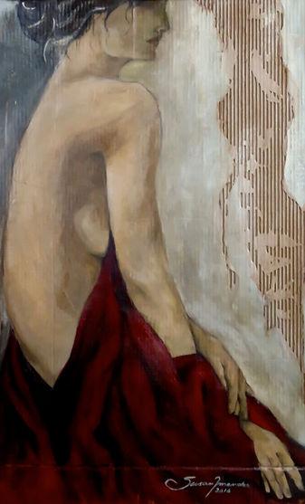 ...despindo-se do Xale Vermelho ,  107 x 65 cm, Técnica Mista sobre papelão