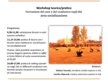 Workshop teorico/pratico Formazione del cane e del coadiutore negli IAA area socializzazione