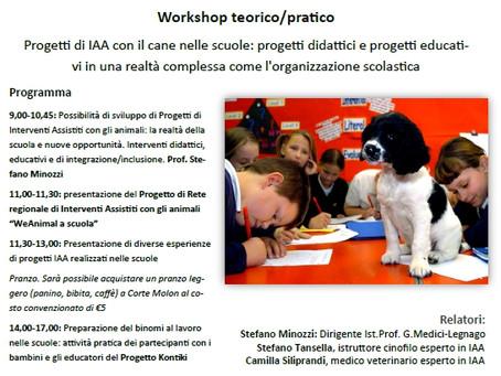 Workshop teorico/pratico Progetti di IAA con il cane nelle scuole: progetti didattici e progetti edu