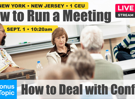 Sep 1: Run a Meeting • Deal with Conflict • 1 CEU