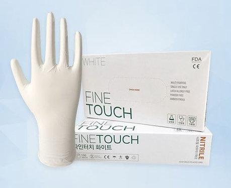 Fine Touch Nitrile Gloves - 100 pcs (White/Large)