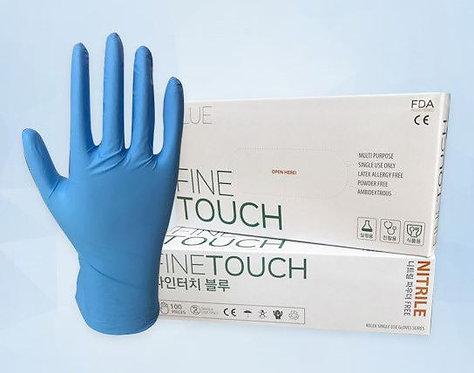 Fine Touch Nitrile Gloves - 100 pcs (Blue/Medium)