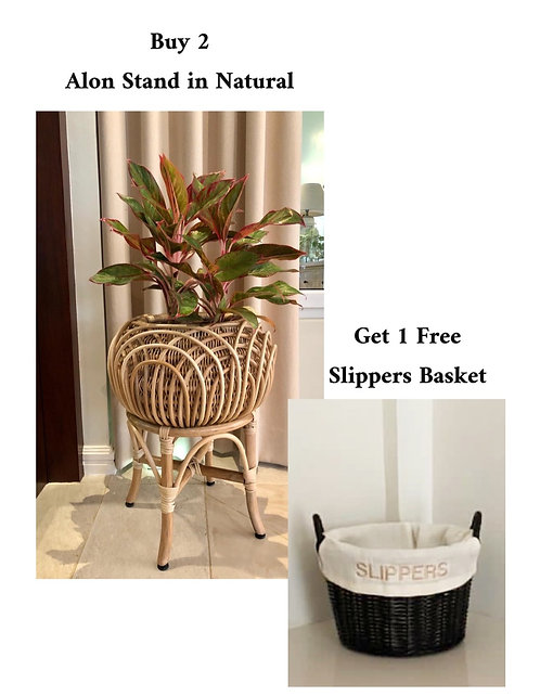 2 Alon Stand in Natural + Free Slippers Basket