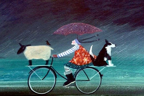 Four on a Bike (Greeting Card)