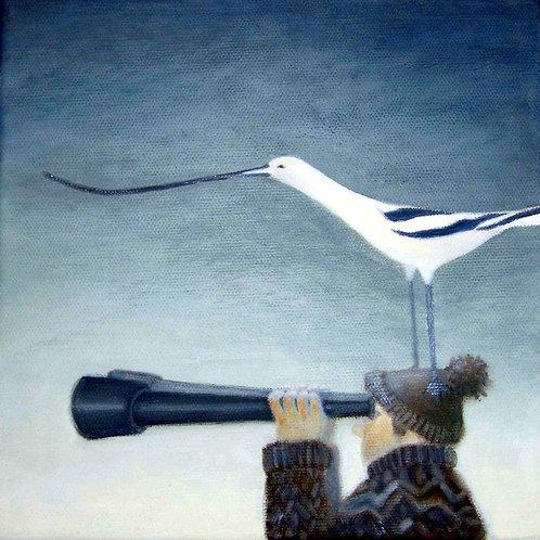 Bird on Head (Greeting Card)